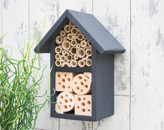 Insect House, Bee Box, Bee Hotel, Solitary Bee House, Wildlife House, Two Tier, in 'Urban Slate'. Can be personalised