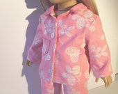 18 Inch Doll Clothes PJ's PAJAMAS Frosted Hearts Pastel Pink Your doll will love these warm flannel PJ's for her sleepover or at bedtime!!