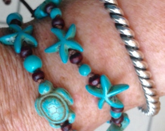 Turquoise Knotted Turtle, Starfish Bracelet by Dossey Designs