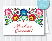 Reserved - Custom Fiesta Thank You Card, Instant Download, Fiesta Stationery, Note Card, Mexican Thank You, Printable Thank You