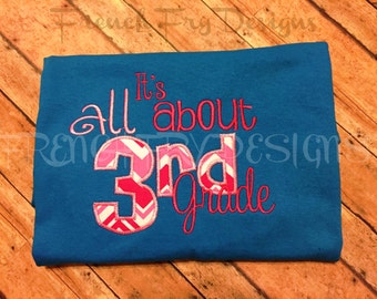 It's All About 3rd Grade Applique Grade & School Specific Shirt Customized