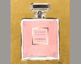 Acrylic Coco Mademoiselle Perfume Art with Gold Background (8'x 10') Original