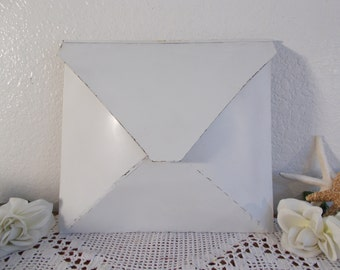Wedding Card Holder White Rustic Shabby Chic Distressed Up Cycled Vintage Envelope Mail Box Decoration Beach Cottage Country Home Decor Wall
