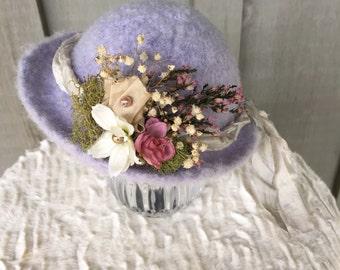 Felted newborn brim hat with handmade chiffon flower