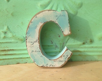 Aqua and Ivory Letter C, Wooden Home Decor Letter C, Wood Initial C Shelf Sitter, Gallery Wall Letter
