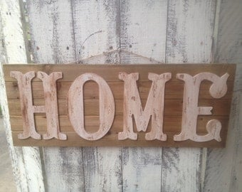 Wooden Home Sign, Rustic Home Hanger, Front Porch Home Hanger, Ivory and Stained Wood Home Sign