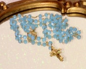 Handmade Rosary Blue Crystal Beads with Gold Tone Cross Crucifix Italy Catholic Jewelry Prayer Beads Religious Necklace
