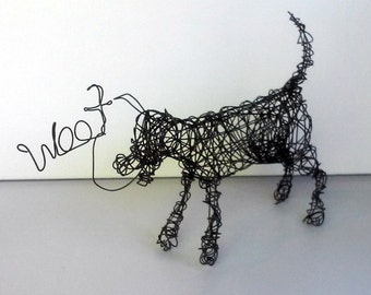 Unique Dog Sculpture - PLAYFUL WOOF - Wire Sculpture