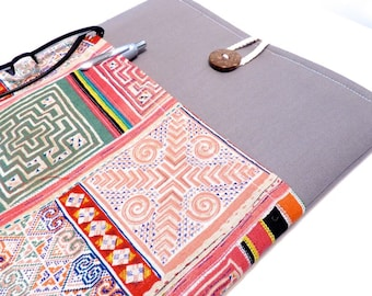 15 inch laptop Macbook Mac book Pro Cover Padded Case Sleeve 14 inch laptop - Boho Canvas with Bohemian Pocket laptop sleeve 15.6 macbook