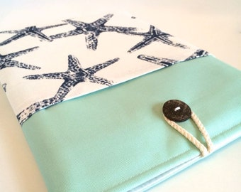 "Laptop Bag 11"" MacBook Air Case 11 inch MacBook Air Sleeve Chromebook 11.6"" Laptop Cover HP Laptop Case Padded w Pocket Aqua / Blue Starfish"