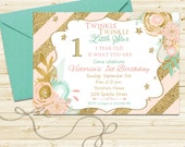 Pink, Mint and Gold Glitter Birthday Party Invitation - Twinkle Twinkle Little Star First Birthday Invite