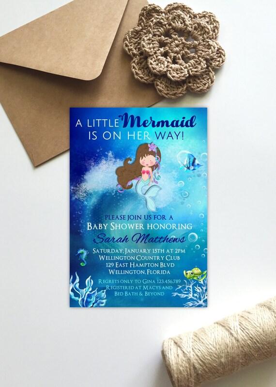 Blue Mermaid Baby Shower Invitation