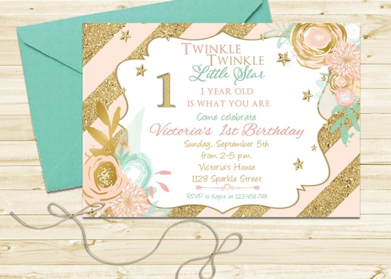 Twinkle Twinkle Little Star First Birthday Invite
