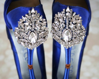 Wedding Shoes, Blue Wedding Shoes, Something Blue, Jeweled Heel Shoes, Blue Bridal Accessories, Bling Wedding Shoes, Crystal Wedding Shoes