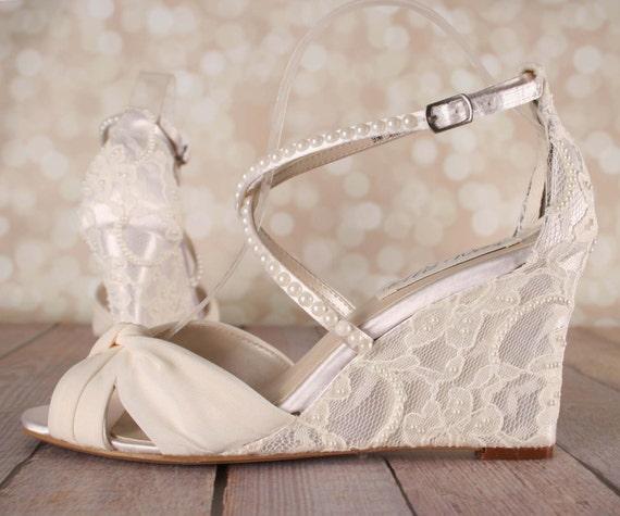 Wedge Heel Shoes For Wedding: Ivory Wedding Shoes Lace Wedge Wedding Shoes Lace Heel
