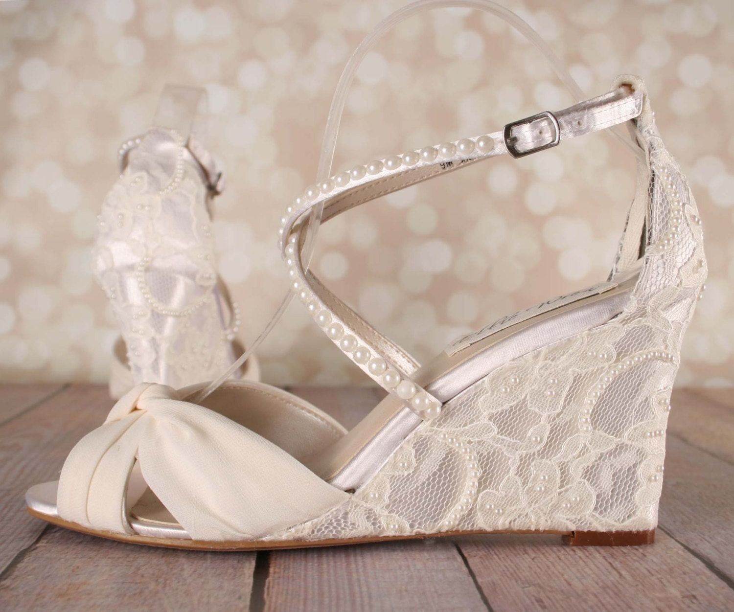 Wedding Wedge Heels: Ivory Wedding Shoes Lace Wedge Wedding Shoes Lace Heel