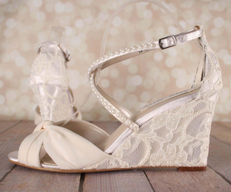 Wedding Wedge: Ivory Wedding Shoes Lace Wedge Wedding Shoes Lace Heel