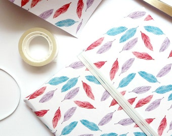 Wrapping Paper - Pink, Purple & Blue Feathers Wrapping Paper