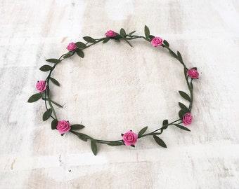 Pretty pink floral headband garland head dress festival hippy