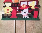 Firetruck Cake Topper/Fireman's Theme Party/Dalmation Theme Party