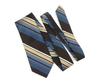 ON SALE Marquis Designs Francais Mens Necktie, 100% Imported Polyester Tie, Brown, Blue and Cream 1970 Necktie