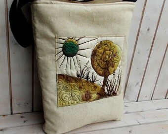 Ochre tree and field Linen Canvas tote, shoulder tote, book bag,handpainted, quilted, whimsical wearable art, wooden bag, hobo bag, satchel