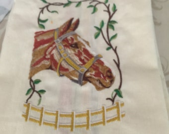 New Kitchen Tea Towel with HORSES embroidered