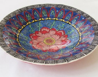 handmade ceramic flower bowl: handpainted ceramic bowl; ceramic art; art pottery; hand built pottery