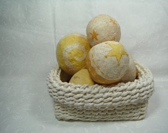 Ball Bowl Fillers Ornies AND BASKET Tuck Yellow & White Paper Mache Handmade French Country Shelf Setter Decor Accessory Primitive Rustic