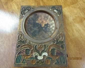 Vintage Copper Ashtray Hand Tooled Hammered and Painted Copper w Match Box Compartment Tobacciana