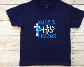 Made in His Image XS youth Navy t-shirt