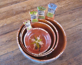 Full Set of 4 Round Mexican Nesting Bowls w Side Handle Ceramic Tlaquepaque Folk Art