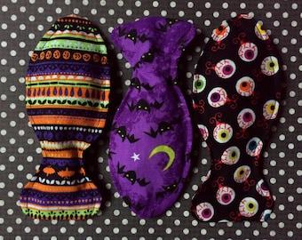 Spooky Halloween Catnip Fish Cat Toy Trio **Multipack Savings!** - Red White & Mew - Eyeballs, Stripes, Bats, Everyday is Halloween