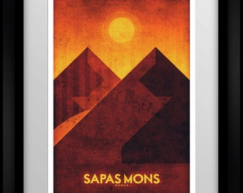 Space Travel Poster - Venus - Sapas Mons