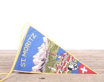 Vintage St. Moritz Switzerland Pennant / Vintage Pennant / Pennant Banner / Pennant Flag / Blue and Yellow Pennant / Wall Pennant Decor