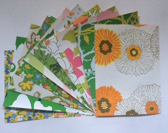 """Power Pop 1960s and 1970s Vintage wallpaper collage/scrapbook sample pack (10 sheets, 8.5x11.5"""")"""