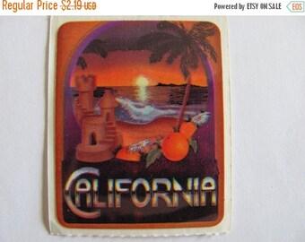 ON SALE Vintage Acard Stickermania California Sticker from 1984 - Sunset Scrapbook Palm Tree Ocean Retro Cali