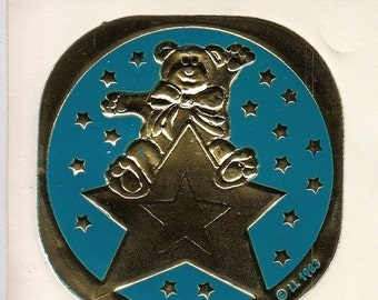 ON SALE Rare Vintage Illuminations Embossed Foil Bear on a Shooting Star Sticker - 1983 Teddy Bear Gold Turquiose Teal