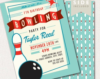 Bowling Party Invitation - Printable Birthday Party Invite - Red / Teal
