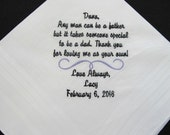 Wedding Handkerchief embroidered for the Stepfather of the Bride