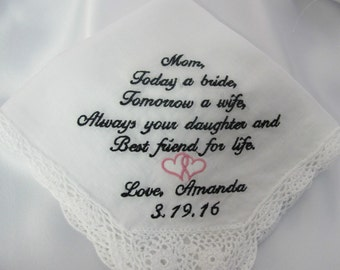 Wedding Handkerchief embroidered for the Mother of the Bride.  New font - ask for #4.