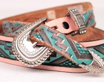 vintage southwestern belt // pink and blue