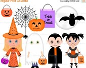 30% OFF SALE Halloween Costumes Kids digital clip art set, clipart personal and commercial use digital download
