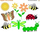 30% OFF SALE Spring ladybug caterpillar butterfly dragon fly bee bugs digital clip art set, clipart personal and commercial use digital down