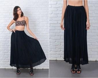 Vintage 80s Black Retro Skirt Full Maxi Pleated XS Small Medium S M 7160