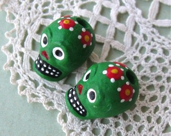 Day of the Dead Skull Beads Green Peru Handpainted Ceramic Vertical Hole (2)