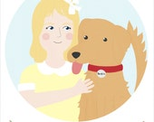 Custom Portrait with your pet / Custom Drawing with your dog / Personalized Illustration / Birthday gift