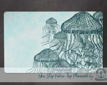 Placemat - Jellyfish School | Teal Jellies Nautical Beach House Decor | Anti Skid/Non Slip Fabric Top Rubber Backed Awesomeness
