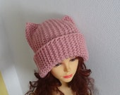PINK Cat Ears Hat Cat Beanie Chunky Knit Winter Accessories Cat Unisex Animals Hat cat ears hat Women knit hat Pink Cat Beanie Hat