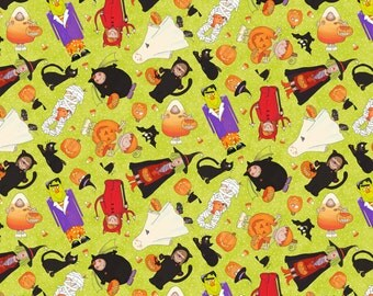 Trick or Treaters on Green from Northcott Fabric's Happy Halloween Collection